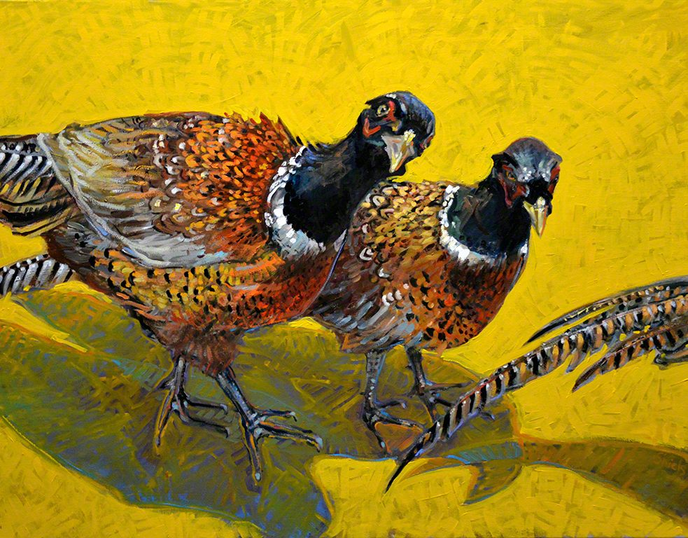 oil on linen of three pheasants